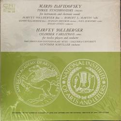 Mario Davidovsky / Harvey Sollberger – Three Synchronisms / Chamber Variations